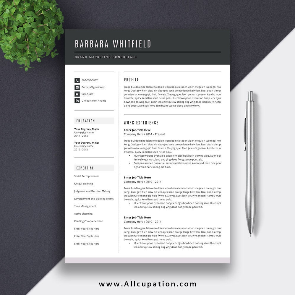 Best Resume Templates Cv Templates Sold On Etsy Allcupation