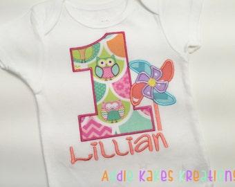 Personalized Pinwheel Shirt - Pinwheel Birthday Shirt - First Birthday - Boys Pinwheel Shirt - Girls Pinwheel Shirt - Pinwheel Party