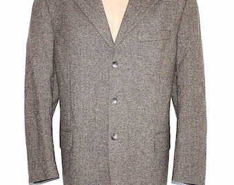 Men's Vintage D&V Tailored Fitted Monochrome Brown 100% Wool Blazer Jacket Size L / Chest Approx 48 in