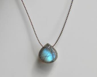 Labradorite Necklace AA+ Blue Flash Gemstone Silk Necklace Minimalist Minimal, Floating Wedding Simple Smooth Heart Briolette