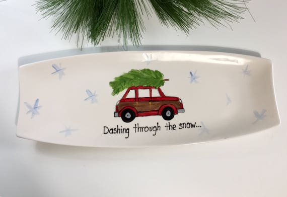Hand painted Christmas platter, Dashing through the snow platter, vintage woody wagon platter, hand painted holiday platter, Christmas