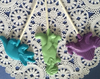 DINOSAUR Chocolate Lollipops(12 qty) - Reptile Party/DINOSAUR Party Favor/T-REX Favors/Boy Birthday/Paleontologist/Triceratops/Dimetrodon