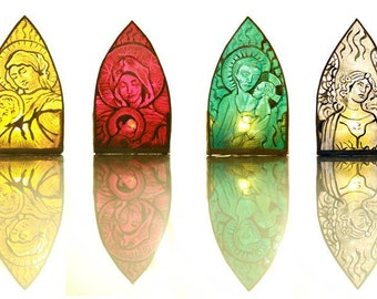 Individual Hand Made Stained Glass Candle Lamp Holder