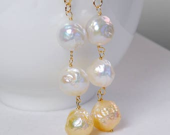 Baroque Pearl Earrings by Agusha. Multi Color Baroque Pearl Drops. Statement Earrings