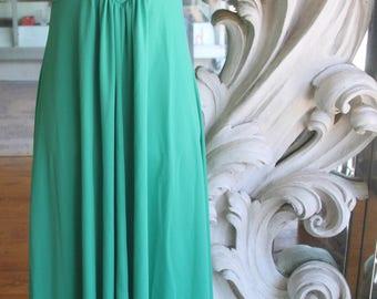 Vintage 1970s Polyester Sleeveless Empire Waist Maxi Dress
