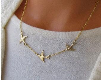 Flying Birds Necklace/Golden Bird/ Flying Swallows/ Three Birds In Flight Jewelry