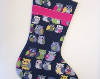 Made to Order - Charcoal Grey Owl Christmas Stocking with Pink Lining
