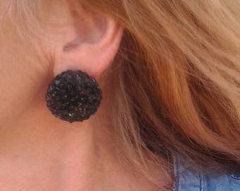 Black Sequins Domed Earrings