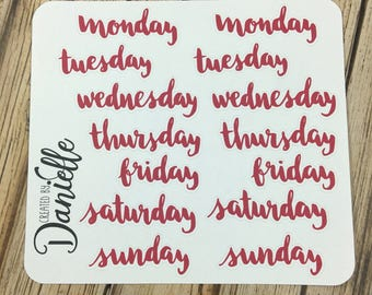 Days of Week Stickers, Custom Journal Planner Sticker, Bullet Journal Sticker, Bujo Sticker, Large set of  14 - Red