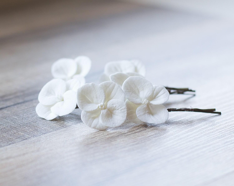 Hydrangea Hair Clips White Hydrangea Flowers Bridal Hair