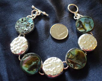 """Abalone Mexico Hammered Toggle 30.9g Sterling Silver Bracelet (7.5"""")"""