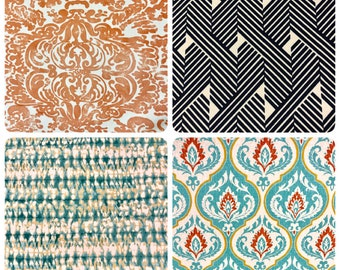 Outdoor Water Repellent Indoor Coral Nautical Print Pattern Upholstery Fabric Orange Teal Aqua Blue Navy Mustard Ikat Geometric Abstract
