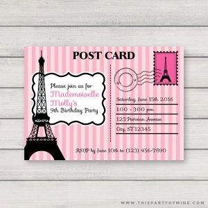 Paris invitation etsy paris postcard invitation printable pink paris birthday party invitation instant download with editable text filmwisefo Gallery