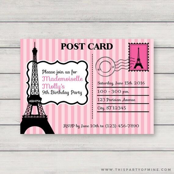 Paris postcard invitation printable pink paris birthday party solutioingenieria Images