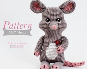 Amigurumi Mouse Pattern - Matt Mouse - Tutorial PDF - Crochet - Stuffed animal