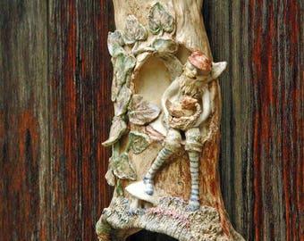 Wren House Wall Hanger with Fairy