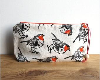 Robin redbreast clutch bag, large pencil case, boho clutch, block printing, handmade