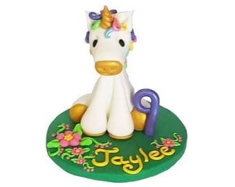 Polymer Clay Unicorn Birthday Cake Topper Keepsake can be personalized
