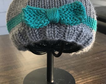 Hand Knit Bow Hat