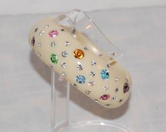 Rhinestone Lucite Clamper Bracelet Vintage 40s 50s Stunner