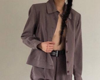vintage pants suit / leisure suit / cropped jacket / high waisted pants | S M L