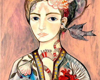 The Secret- Fine Art Print.woman, girl. Mexico,art painting portrait, bohemian, folk, funky, naive, heart tattoo.