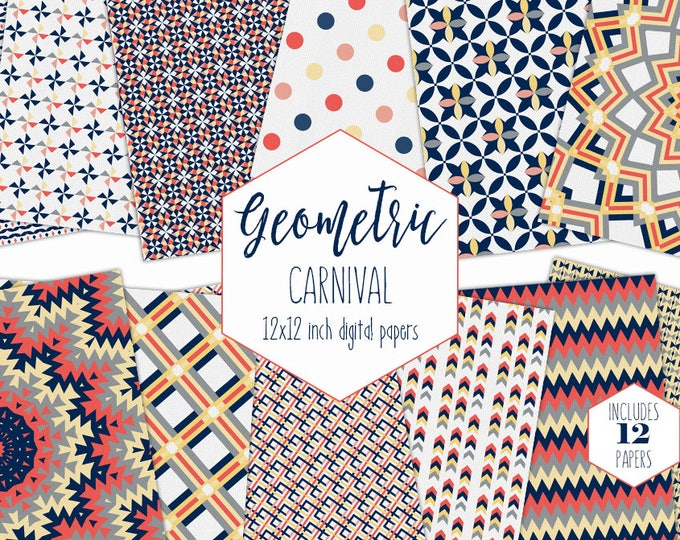 ORANGE & NAVY BLUE Digital Paper Pack Plaid Backgrounds Mandala Scrapbook Papers Geometric Arrow Patterns Boy Party Printable Commercial Use
