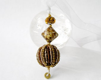 Beaded Boho Pendant Sun Catcher Rear View Mirror Window Decor Harvest Gold Mixed Metals