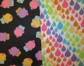 Fleece Tie Blanket-Happy Cupcakes and Rainbow Drops, large