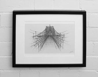 Brooklyn Bridge Print, New York Print, Wall Art Print, Brooklyn Bridge Poster, New York Drawing, New York Wall Art,  Bridge Drawing, Sketch