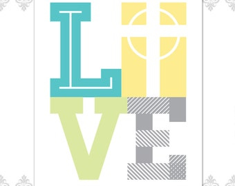 DIGITAL FILE Love and Cross Print, Modern Cross Design, Love Design, Custom Colors Print, Home decor, Faith Print, Faith and love print