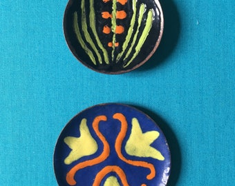 Handmade enamel  2 dishes  orange Flower 1970 s