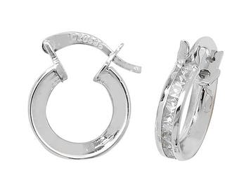 9ct White Gold 8mm Princess Cut Cz Hoop Earrings Hallmarked