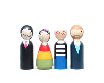Wooden Peg Dolls // The Modern Artists // Famous Painters Peg Dolls // Frida Doll