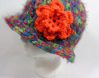 Womens Winter Hat,  Ladies Thick Cap, Multicolored Beanie with Orange Flower, Gift for Friend, Present for Teen, Crazy Colors Hat