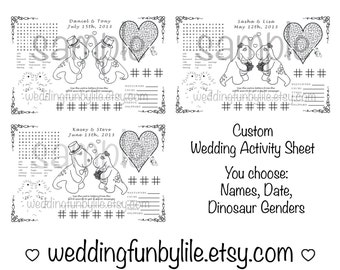 Printable Kids Wedding Activity Page PDF. Customized Favor, Placemat. Your Names and Date. You Choose Wedding Couple's Genders, Print size