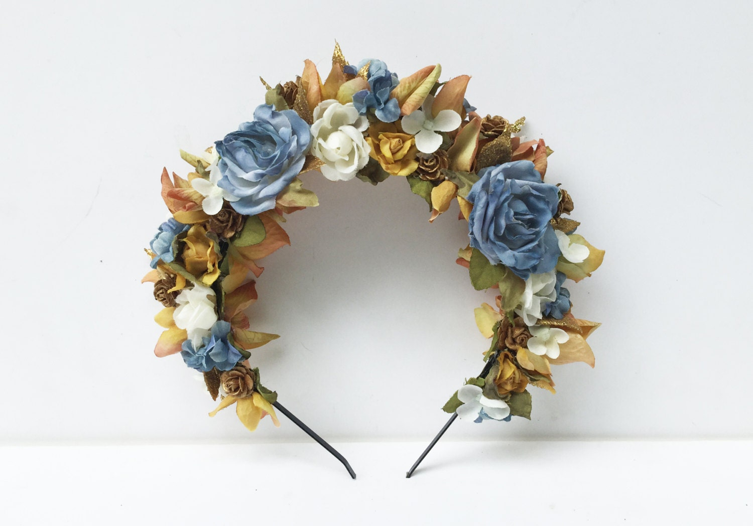 Blue and gold flower crown bridal flower crown blue floral zoom izmirmasajfo Image collections