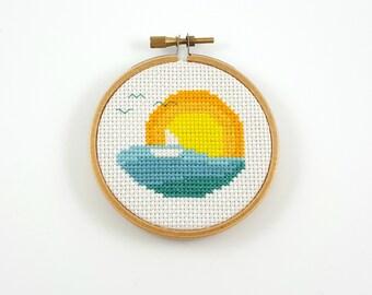Sunset cross stitch pattern, sun and sea cross stitch, sunset pdf pattern, sunrise cross stitch, modern cross stitch, counted cross stitch
