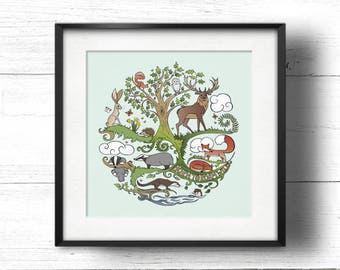 Born to Roam Wild (Apple) - A4 Sq Giclée Print - Wild Animals, Fox, Badger, Otter, Red Squirrel, Hare, Owl, Bees, Butterflies, Oak Tree
