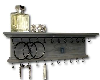 Jewelry Organizer Holder Necklace Bracelet Hanger Wall Shelf Wall Mounted Rustic