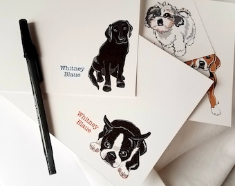 Pick Your Pet Custom Stationery - Set of 8 Linen Postcard-style Cards and Envelopes