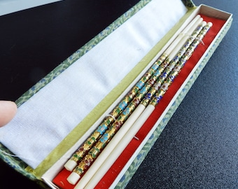 Vintage Ivorine Chopsticks with Floral Cloisonne - 2 pairs, Christmas Gift, Gift Idea, Gift for Him, Gift for Her