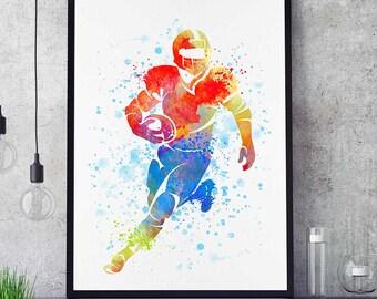 Football Art Print, Watercolor Print, Wall Art Decor, Sports Decor, Football Mom, Home Decor, Birthday Gift For Him