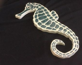 Carved Pottery Tile Coaster Seahorse Fish Sea Ocean