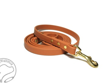 """Caramel Brown Biothane Dog Leash - 5/8"""" (16mm) - Choice of: Stainless Steel or Brass Hardware and Length 4ft, 5ft or 6ft (1.2m,1.5m,1.8m)"""