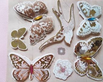 Sheet of stickers 3D butterflies and birds
