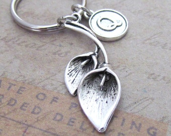 Lily Charm Keychain, Personalized Antique Silver Initial Round Calla Lily Key Ring, Choose your Initial Style