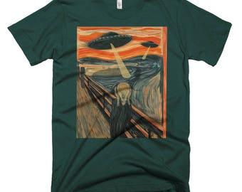 Funny UFO Alien Abduction Invasion Scream Mashup Short-Sleeve T-Shirt