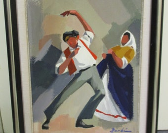 "Vintage Painting of a Dancing Peasant Couple Signed Barbi Folk Art Painting 8"" x 10"" Dance Themed Painting"