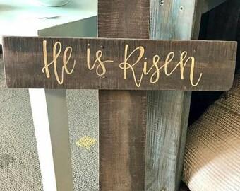 He Is Risen - cross sign